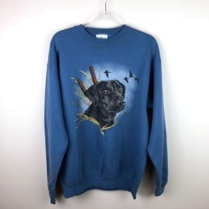 Vintage Black Lab Retriever Dog Blue Sweatshirt L